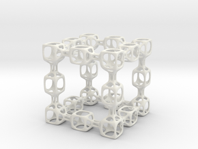 Spongy Cube in White Natural Versatile Plastic