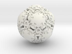 Art Nouveau d20 in White Natural Versatile Plastic