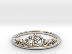 Tiara Ring in Rhodium Plated Brass: 6 / 51.5