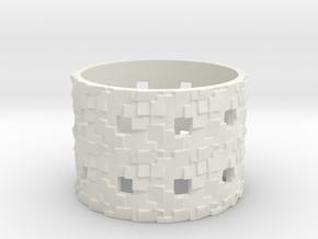 Puzzle Box Ring Size 12 in White Natural Versatile Plastic