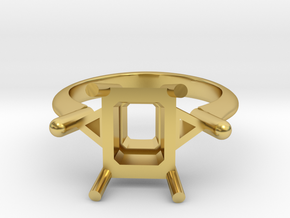 Emerald cut with trilliant sides 7x9 in Polished Brass