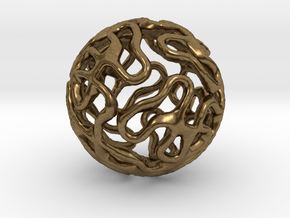 Gyroid Sphere Pendant in Natural Bronze