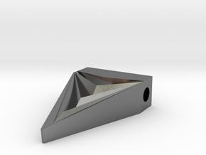 Unisex Futuristic Triangle Arrowhead Pendant in Polished Silver
