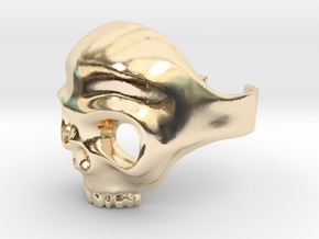 Skull Ring Adjustable  in 14k Gold Plated Brass