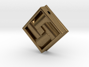 Square Weave Pendant with 3mm Silde Necklace Hole in Natural Bronze