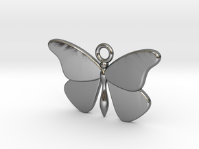 Single Butterfly Pendant (smaller) in Polished Silver