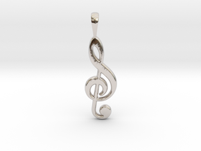Music Note - G Clef in Platinum: Small