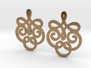 Quad Flourish Earrings in Natural Brass