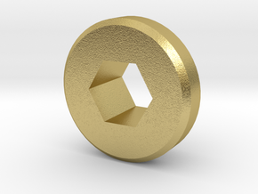 5mm Hex to 3/8 Inch Hex Shaft Adapter in Natural Brass