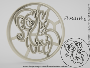 Cookie cutter Fluttershy My Little Pony in White Natural Versatile Plastic