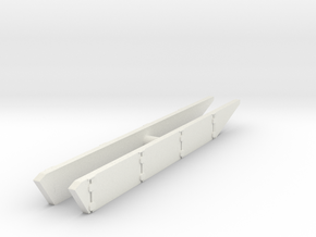 T-62 Side Skirts set 1/87 in White Natural Versatile Plastic