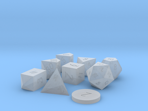 Polyset Dice - Scribble Font - Horizontal D% in Smoothest Fine Detail Plastic