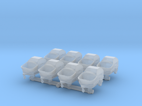 Concrete Pump Trailer (x8) 1/220 in Smooth Fine Detail Plastic