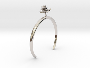 Rose bracelet with one small flower I in Rhodium Plated Brass: Medium