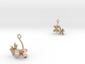 Radish earring with two small flowers in 14k Rose Gold Plated Brass
