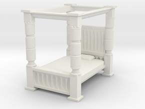Four Poster Bed 1/64 in White Natural Versatile Plastic