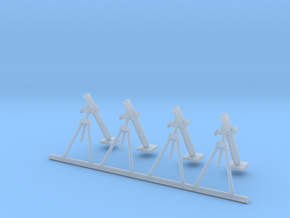 80mm Mortar (4 pieces) scale 1/87 in Smooth Fine Detail Plastic