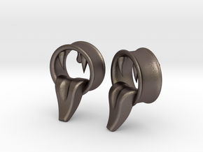 Montsters At Play 1 inch Tunnels in Polished Bronzed Silver Steel