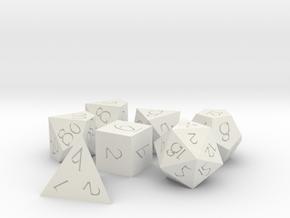Polyset Dice - Fantasy Elf Font - Horizontal D% in White Natural Versatile Plastic