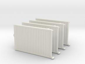 Wall Radiator Heater (x4) 1/48 in White Natural Versatile Plastic