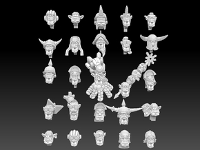 Orc Heads Megapack in White Natural Versatile Plastic