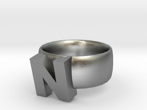 N Ring in Natural Silver