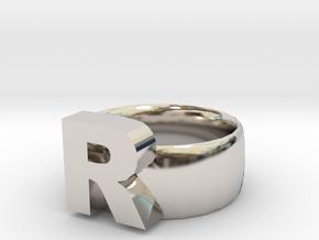 R Ring in Platinum