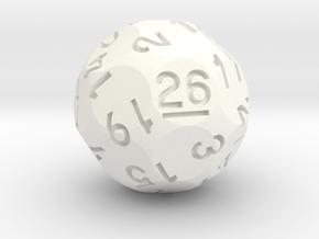 d26 Sphere Dice (ver. 3) in White Processed Versatile Plastic