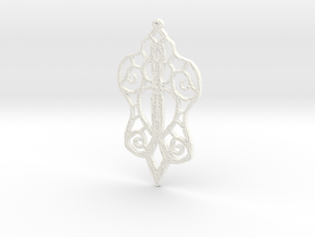 :Baby Lace: Pendant in White Processed Versatile Plastic