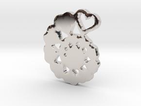 Heart Swirl Fractal Pendant in Platinum