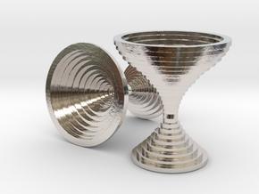 Contour Cufflinks in Rhodium Plated Brass