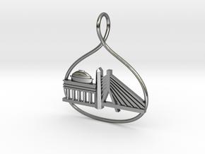 Boston Cityscape Skyline Pendant in Polished Silver