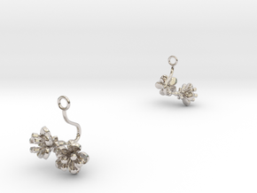 Cherry earring with two small flowers in Rhodium Plated Brass