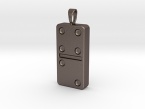 Domino Pendant, Ornament, Keychain[1:1 Scale] in Polished Bronzed-Silver Steel
