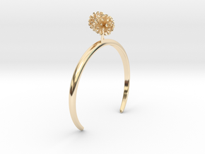 Garlic bracelet with two small flowers L in 14k Gold Plated Brass: Medium