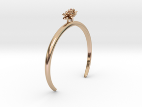Lotus bracelet with two small flowers L in 14k Rose Gold Plated Brass: Medium