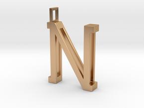 letter N monogram pendant in Polished Bronze