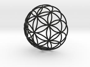 3D 200mm Half Orb of Life (3D Flower of Life)  in Black Natural Versatile Plastic