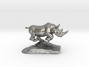 Rhino  in Natural Silver