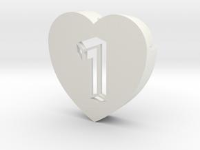Heart shape DuoLetters print 1 in White Natural Versatile Plastic