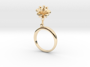 Cherry ring with one small flower in 14k Gold Plated Brass: 5.75 / 50.875