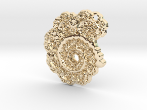3D Fractal Lace Pendant in 14K Yellow Gold