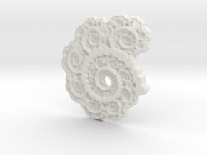 3D Fractal Lace Pendant in White Natural Versatile Plastic