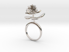Rose ring with one small flower II in Rhodium Plated Brass: 7.25 / 54.625