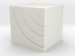 Small Ripple Cube  in White Natural Versatile Plastic