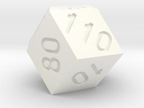"""Long Hundred"" Percentile Dice in White Processed Versatile Plastic"