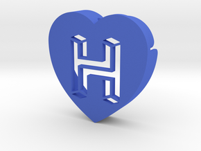 Heart shape DuoLetters print H in Blue Processed Versatile Plastic