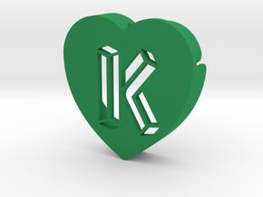 Heart shape DuoLetters print K in Green Processed Versatile Plastic
