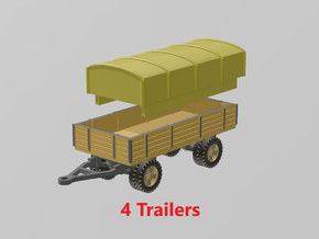 German 5 ton Trailer (x4) 1/285 in Smooth Fine Detail Plastic
