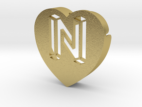 Heart shape DuoLetters print N in Natural Brass